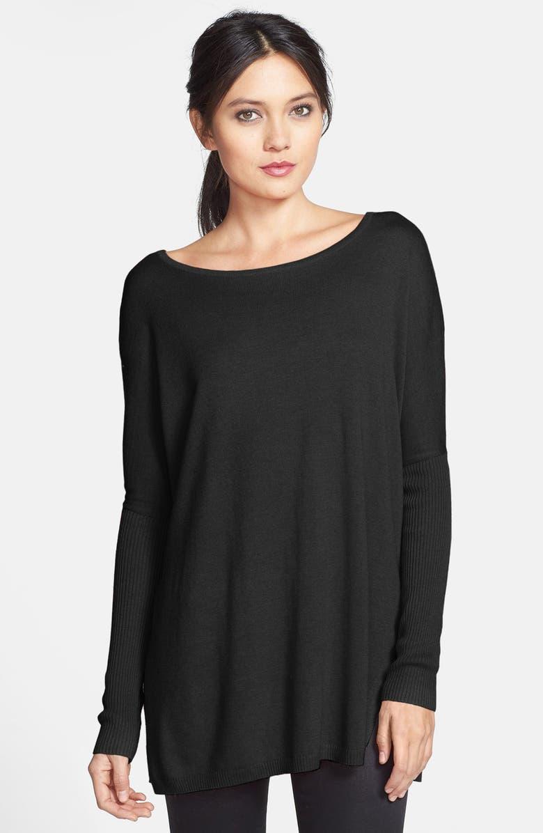 TROUVÉ Side Slit Tunic Sweater, Main, color, BLACK