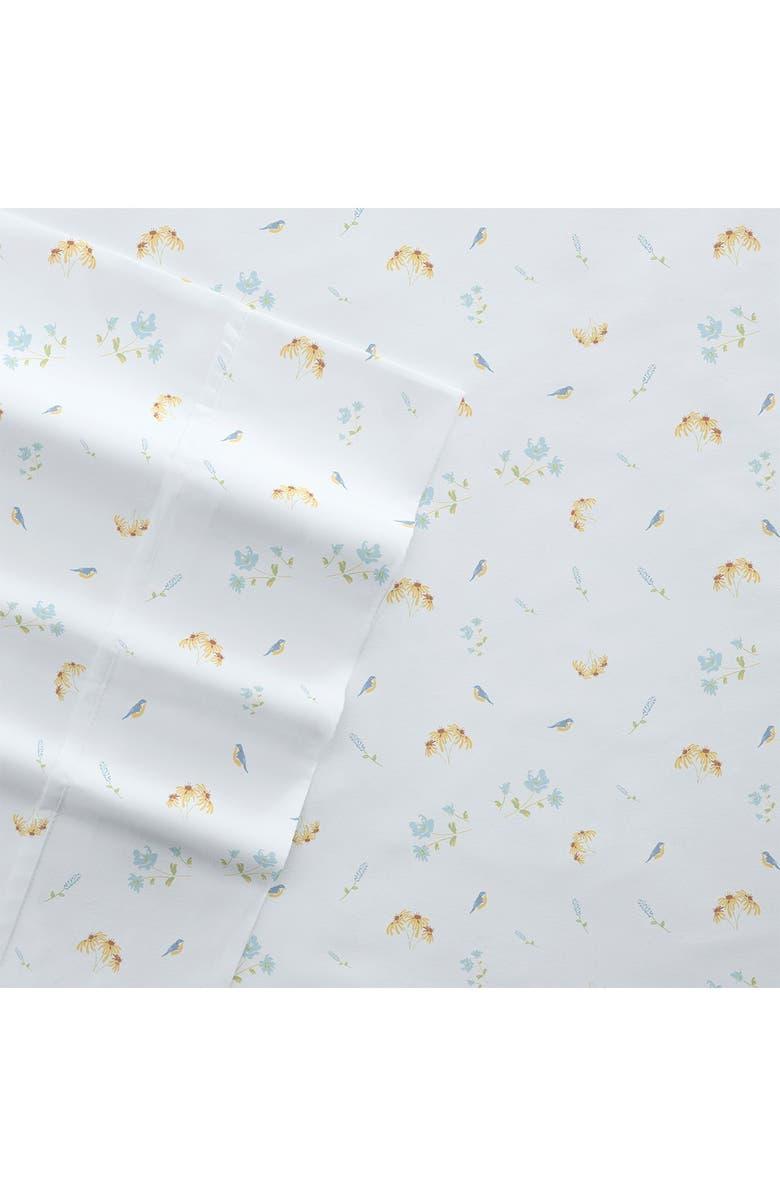 IENJOY HOME Home Collection Premium Ultra Soft Bluebirds Pattern 4-Piece Bed Sheets Set - Light Blue - Queen, Main, color, LIGHT BLUE