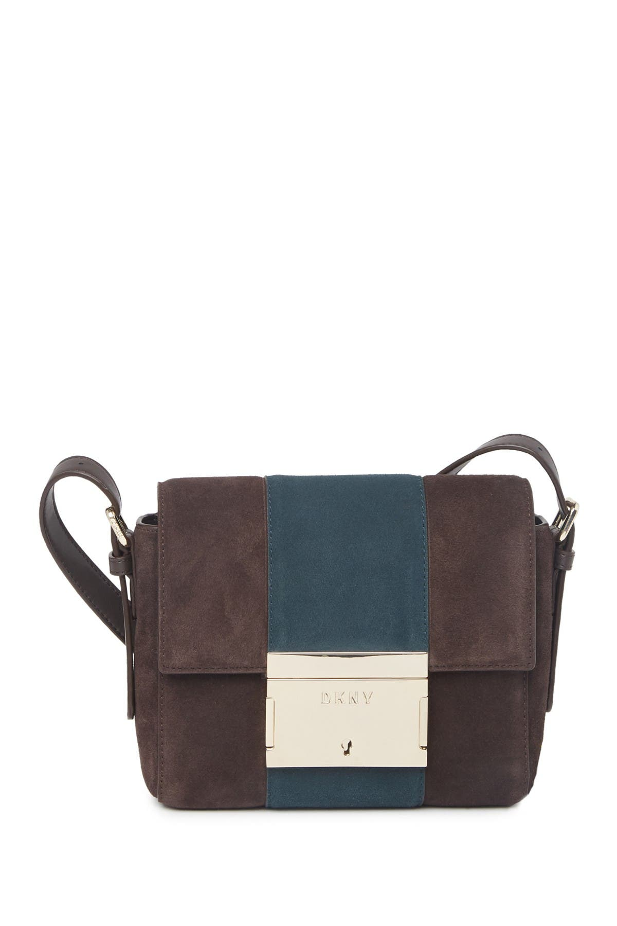 Image of DKNY Adam Suede Flap Crossbody Bag