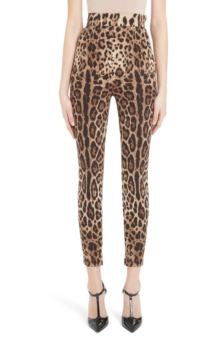 Dolce Gabbana Leopard Print Stretch Silk Leggings