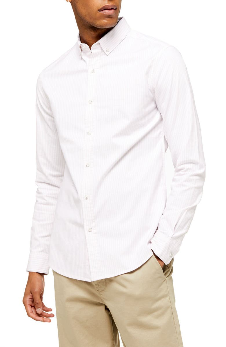 TOPMAN Skinny Fit Pinstripe Button-Down Stretch Oxford Shirt, Main, color, PINK MULTI