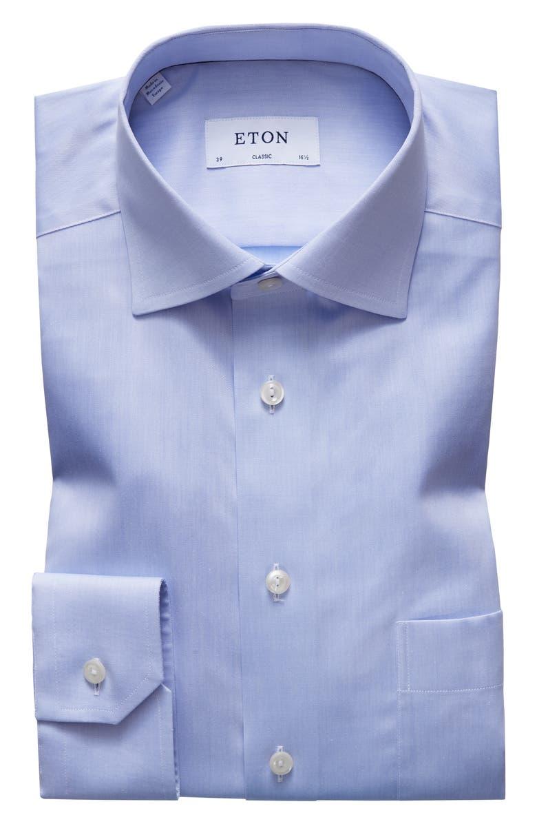 ETON Classic Fit Solid Dress Shirt, Main, color, BLUE