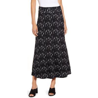 Loveappella Roll Top Print Maxi Skirt, Black