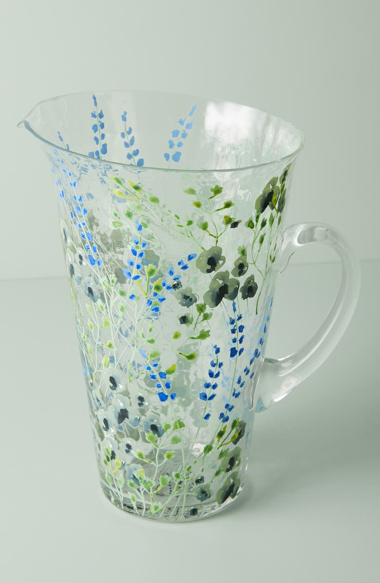 ANTHROPOLOGIE HOME Clemence Lime Glass Pitcher, Main, color, MOSS