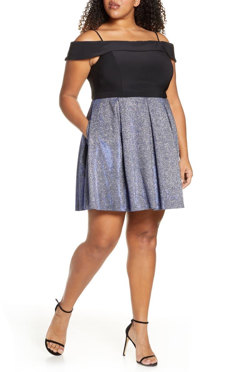 MORGAN & CO. Shimmer Pleated Cold Shoulder Party Dress, Main, color, BLACK/ ROYAL