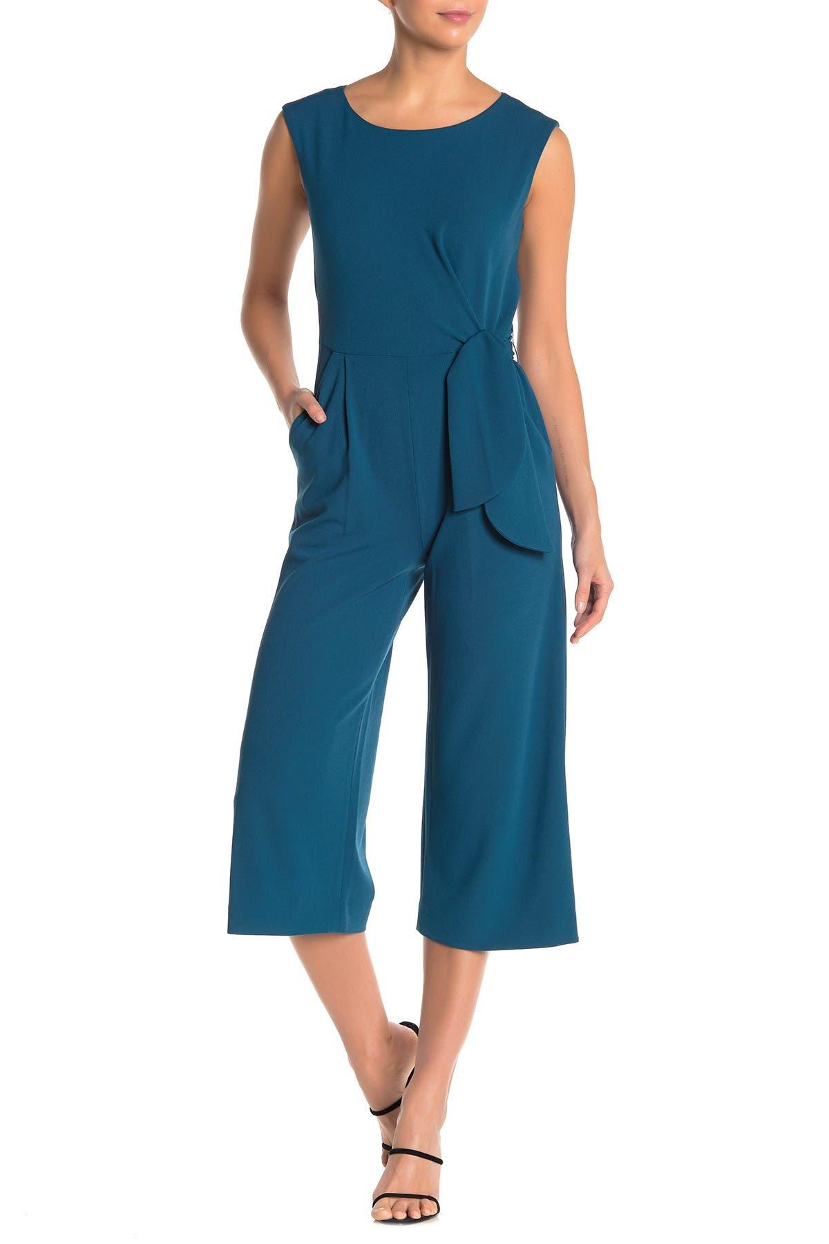 Image of Tahari Crop Tie Waist Jumpsuit