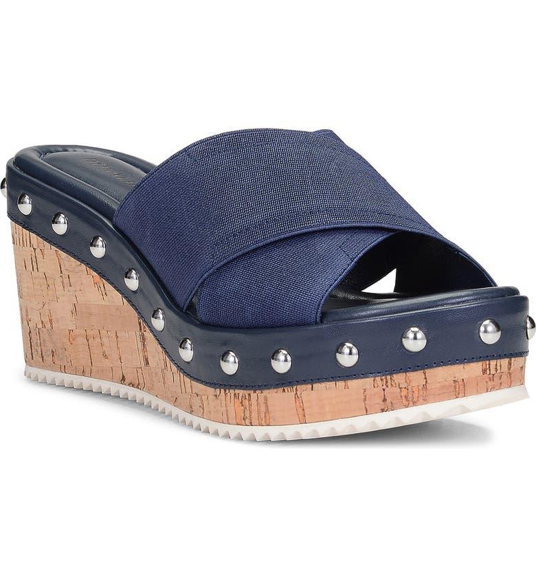 DONALD PLINER Idraa Platform Slide Sandal, Main, color, NAVY FABRIC