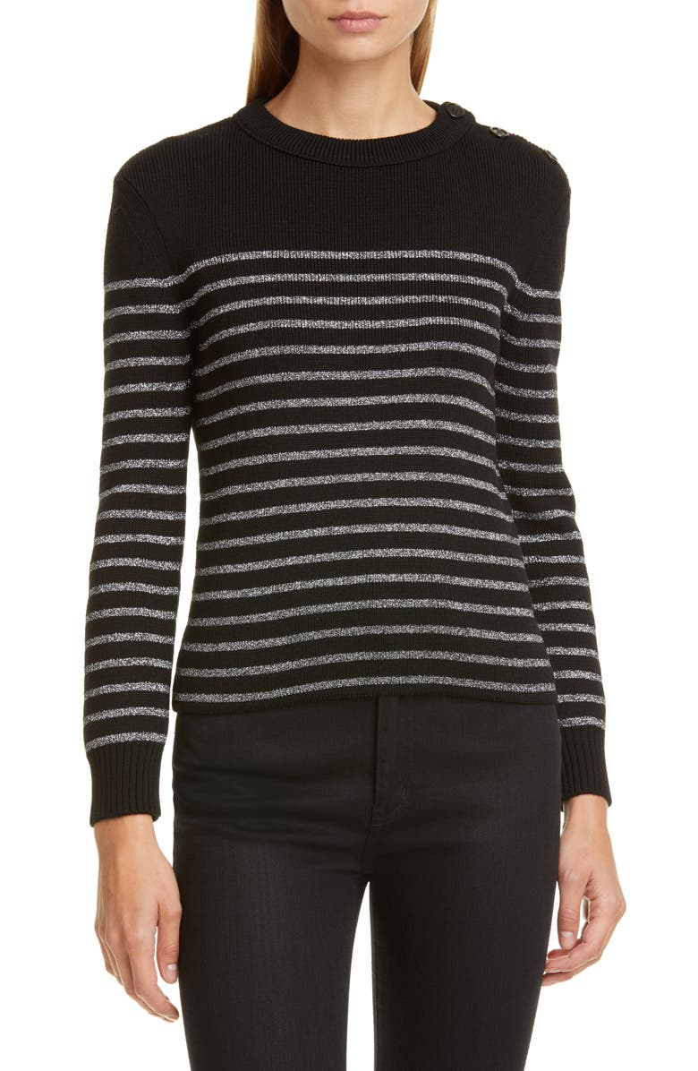 Saint Laurent Shimmer Stripe Wool Blend Sweater