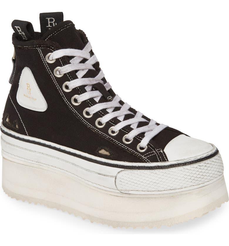 R13 Platform High Top Sneaker, Main, color, Black