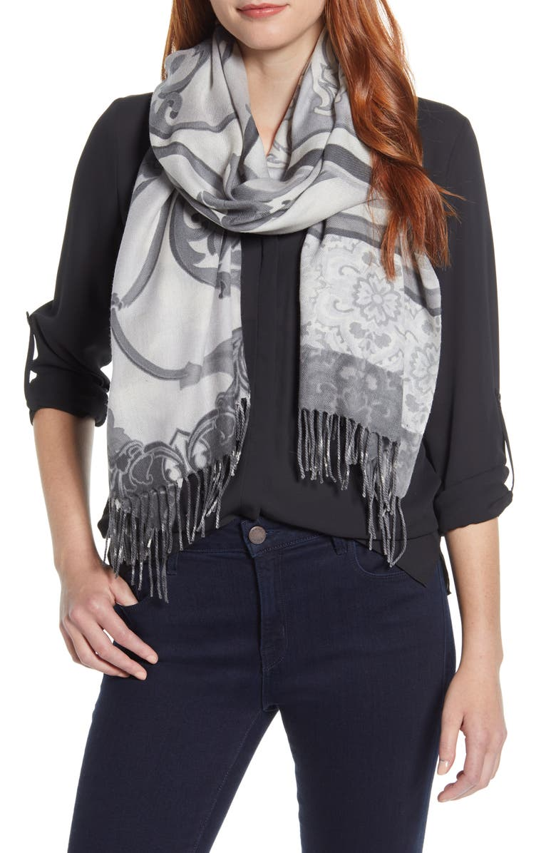 NORDSTROM Tissue Print Wool & Cashmere Wrap Scarf, Main, color, GREY DECORATIF PRINT