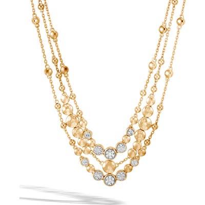 John Hardy Dot Hammered 18K Gold & Diamond Pave Bib Necklace