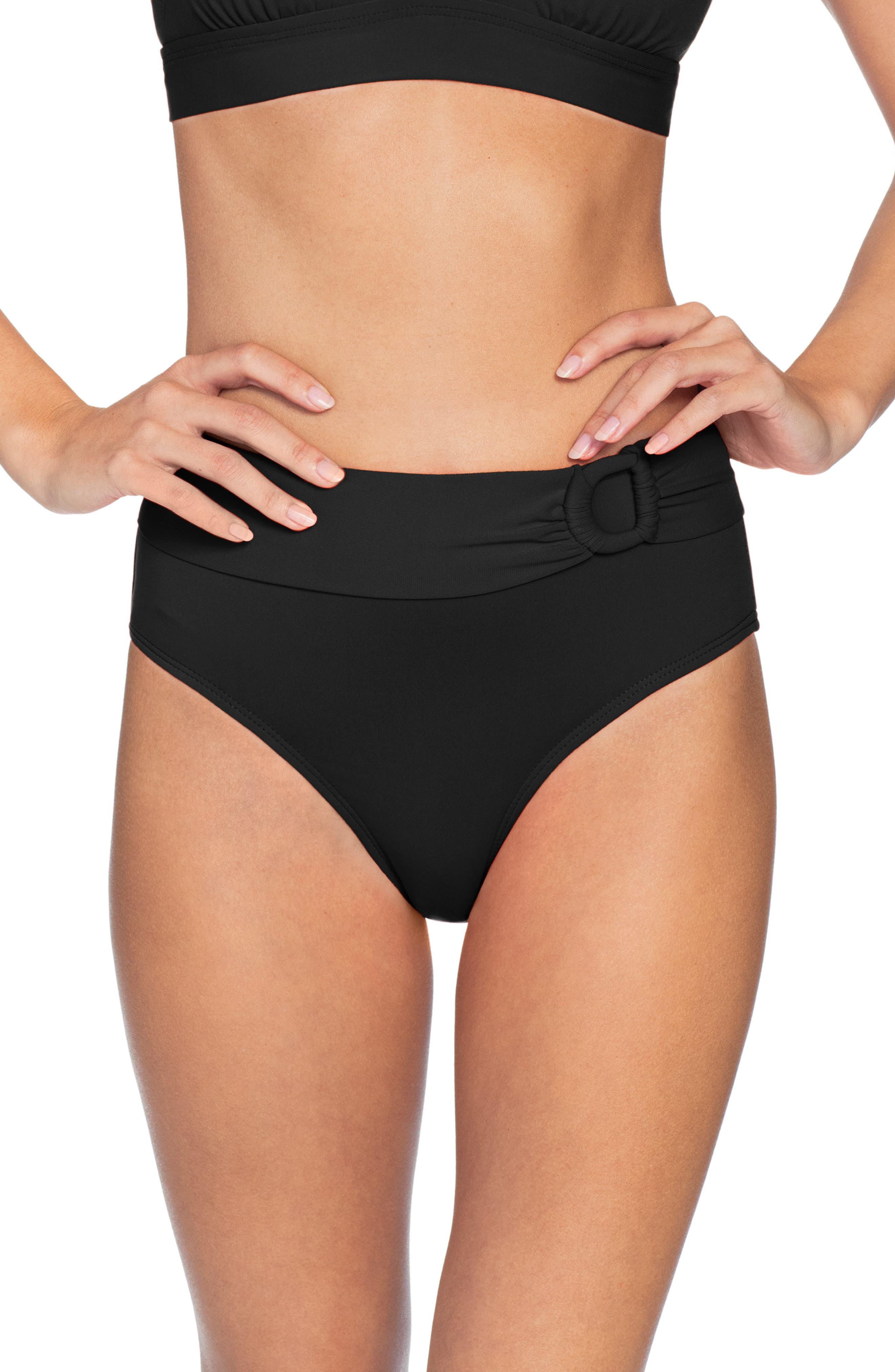 Robin Piccone Kate High Waist Bikini Bottoms, Black