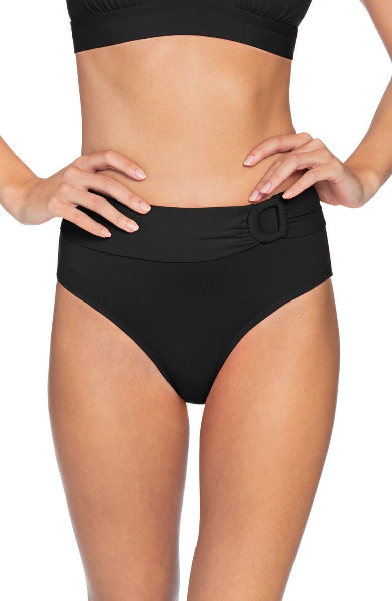 ROBIN PICCONE Kate High Waist Bikini Bottoms, Main, color, BLACK