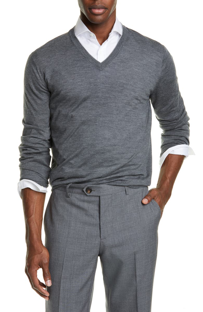 BRUNELLO CUCINELLI Fine Gauge Wool & Cashmere V-Neck Sweater, Main, color, MID GREY