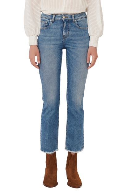 Maje Panna Cropped Embroidered Mid-rise Slim-leg Jeans In Dark Blue