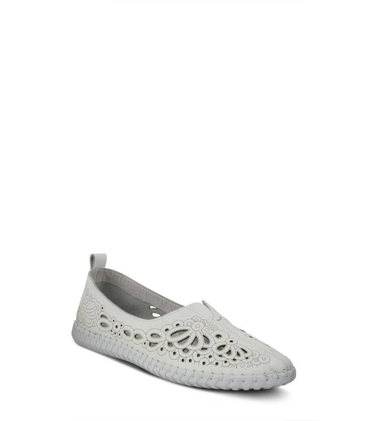 SPRING STEP Mirtha Flat, Main, color, WHITE LEATHER