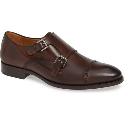 Mezlan Acosta Double Strap Cap Toe Monk Shoe- Brown