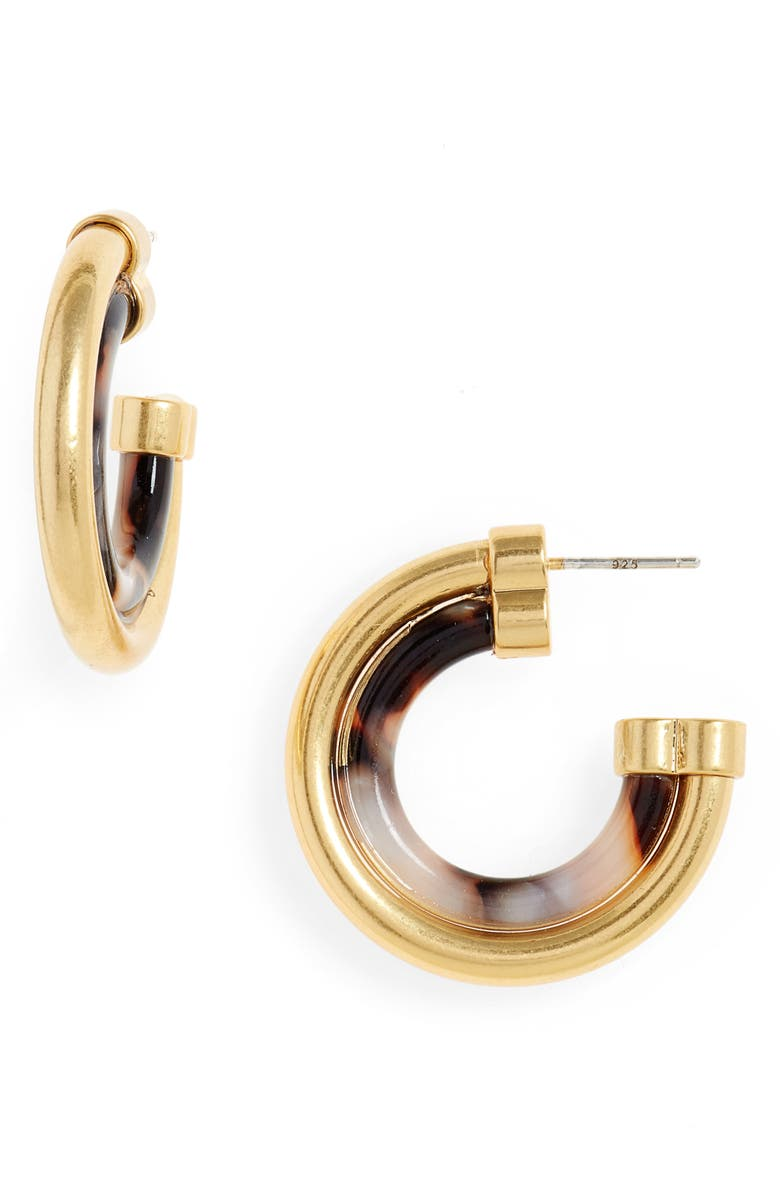 MADEWELL Duo Shine Medium Hoop Earrings, Main, color, 200