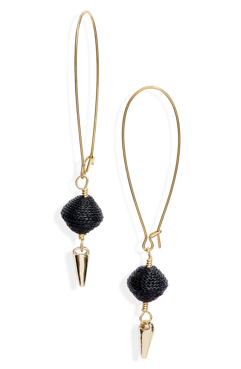 AKOLA Raffia & Spike Drop Earrings, Main, color, BLACK