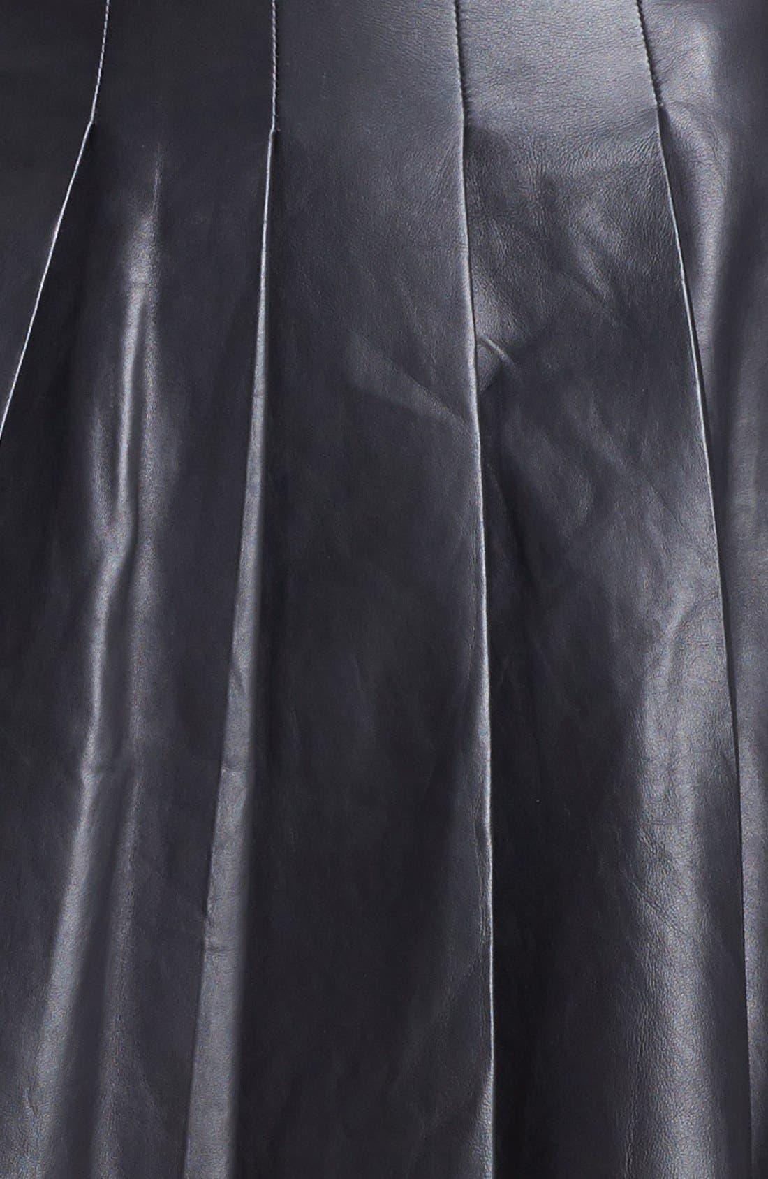 ,                             Pleated Leather Skirt,                             Alternate thumbnail 6, color,                             001