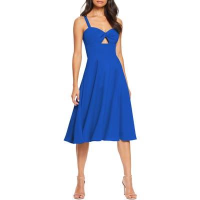 Dress The Population Bianca Sweetheart Midi Cocktail Dress, Blue