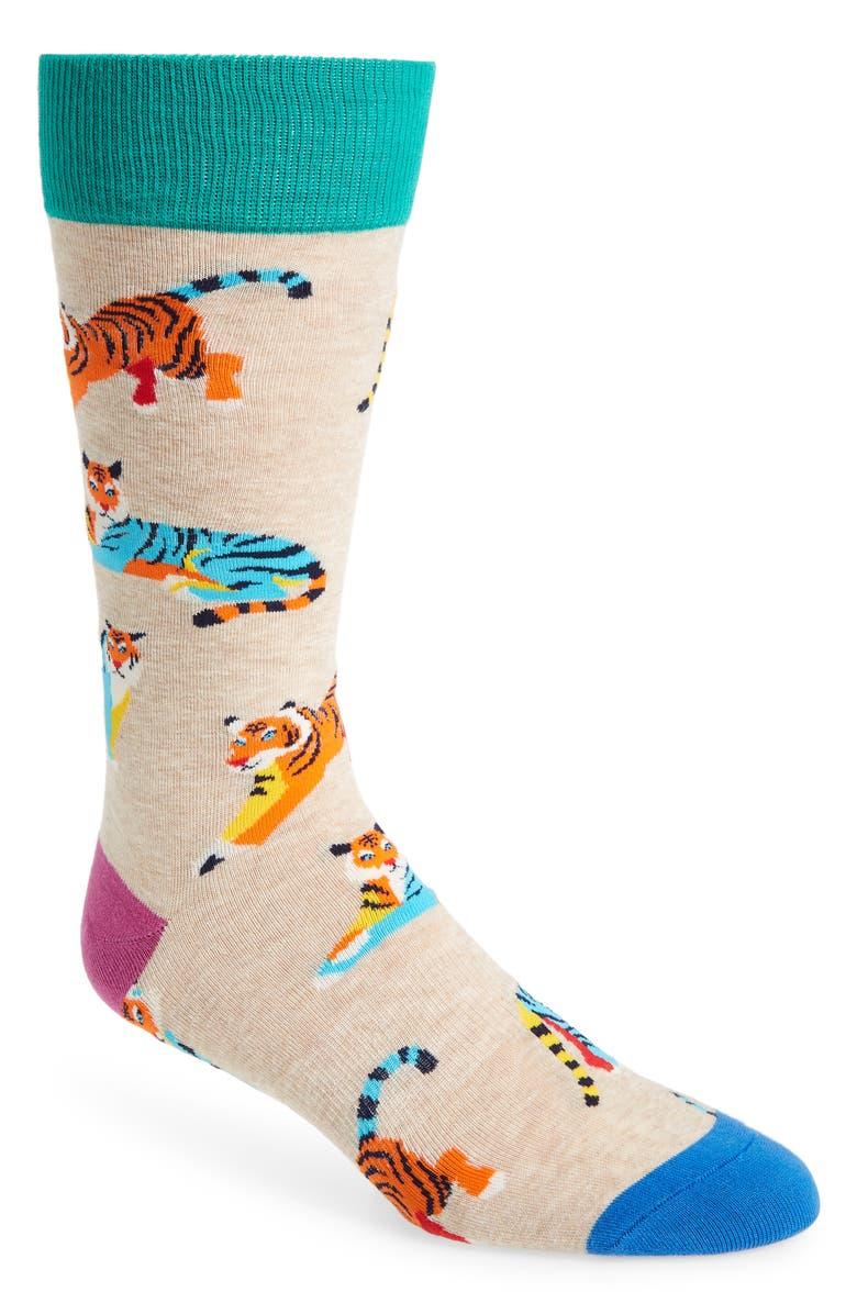 FUN SOCKS Tiger Socks, Main, color, BEIGE MULTI