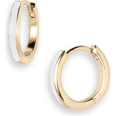 Jennifer Zeuner Victoria Enamel Huggie Hoop Earrings