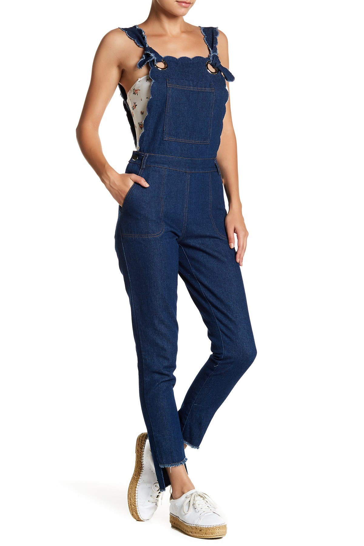 Image of English Factory Scalloped Denim Overalls