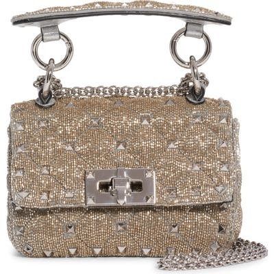 Valentino Garavani Micro Spike It Rockstud Beaded Shoulder Bag - Metallic
