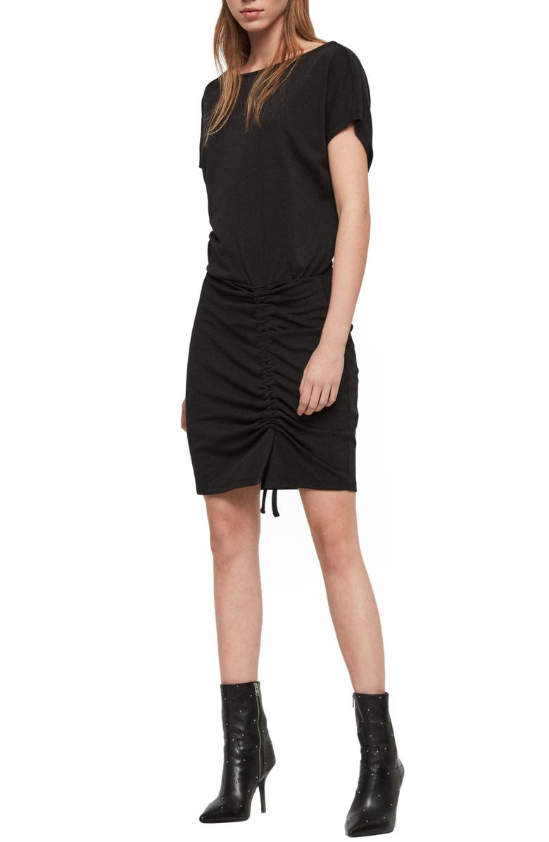 ALLSAINTS Tavi Ruched Cotton Blend Jersey Dress, Main, color, 001