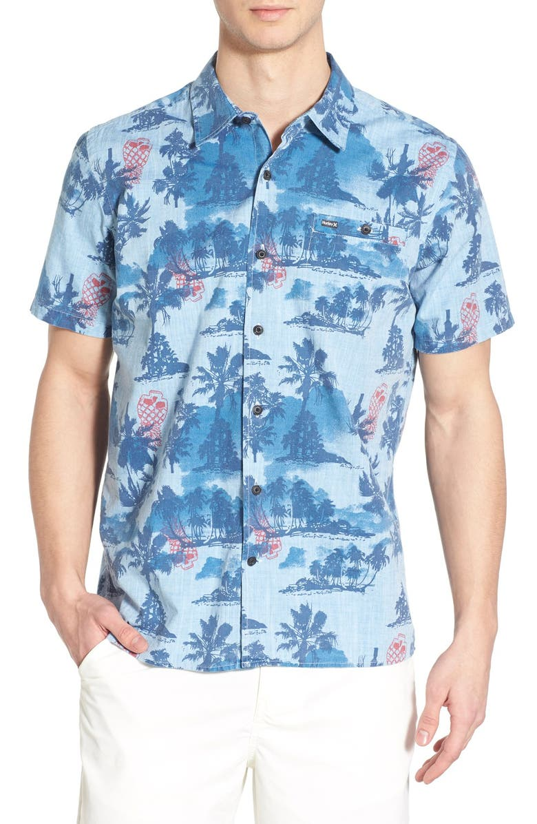 HURLEY 'Capitola' Dri-FIT Print Woven Shirt, Main, color, 411