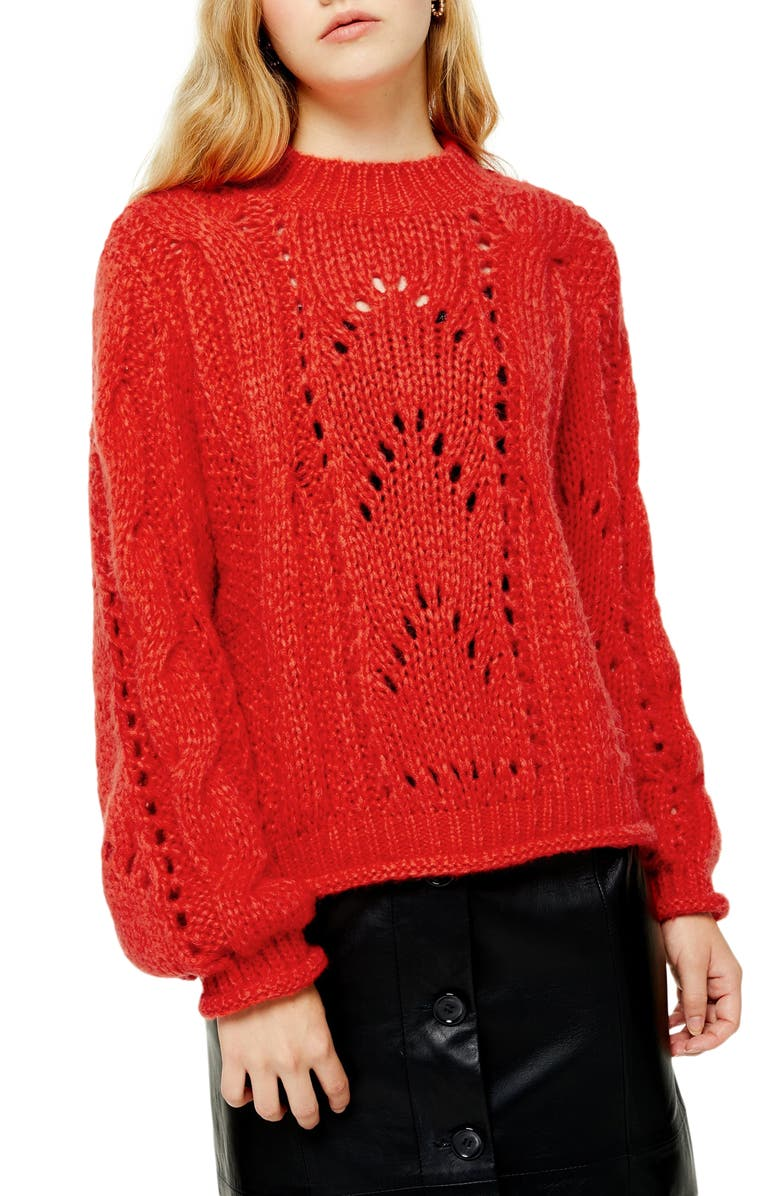 TOPSHOP Shell Sweater, Main, color, ORANGE