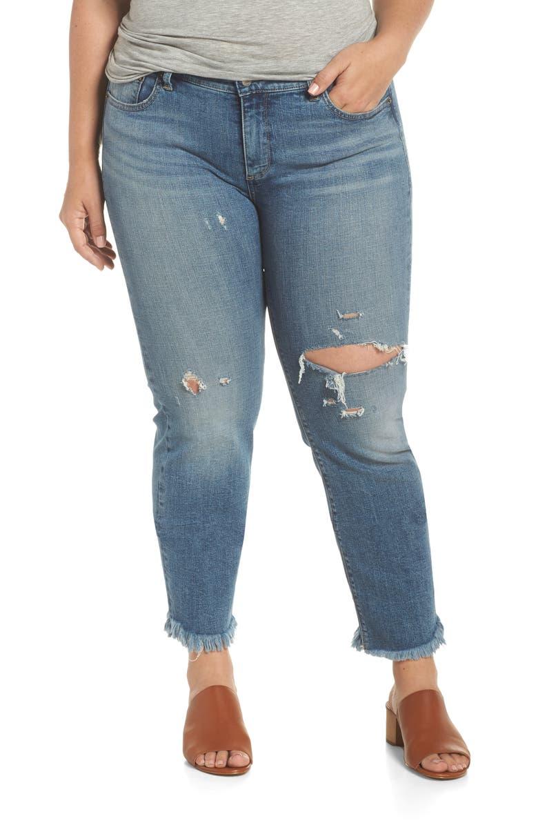 LUCKY BRAND Lolita Straight Fray Hem Jeans, Main, color, 430