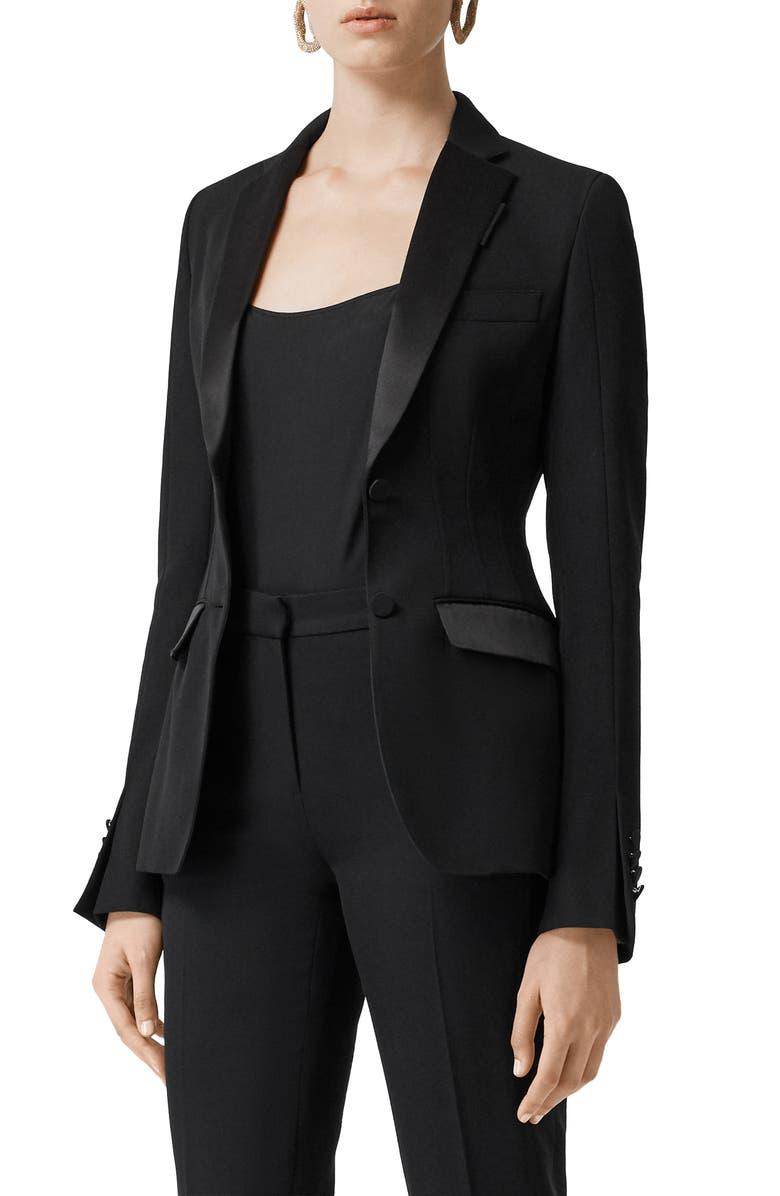 BURBERRY Otelia Satin Trim Wool Tuxedo Jacket, Main, color, BLACK