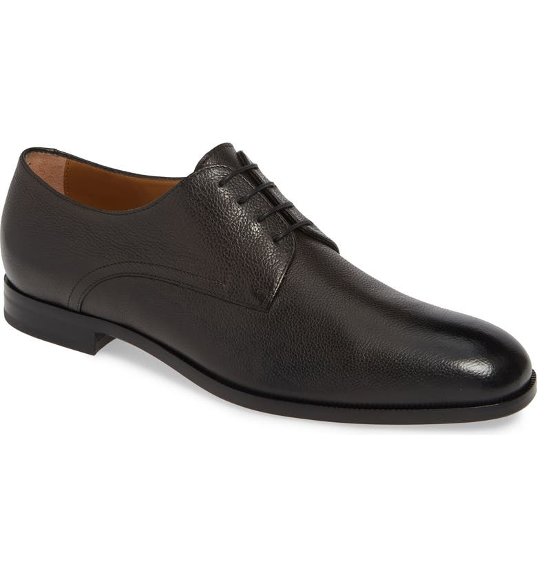 BOSS Brighton Plain Toe Derby, Main, color, DARK GREY LEATHER