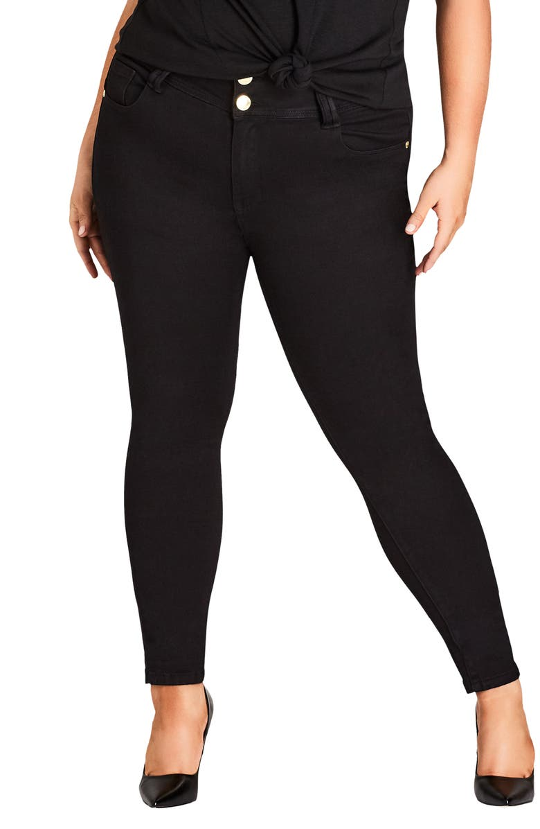 CITY CHIC Asha High Rise Ankle Skinny Jeans, Main, color, BLACK