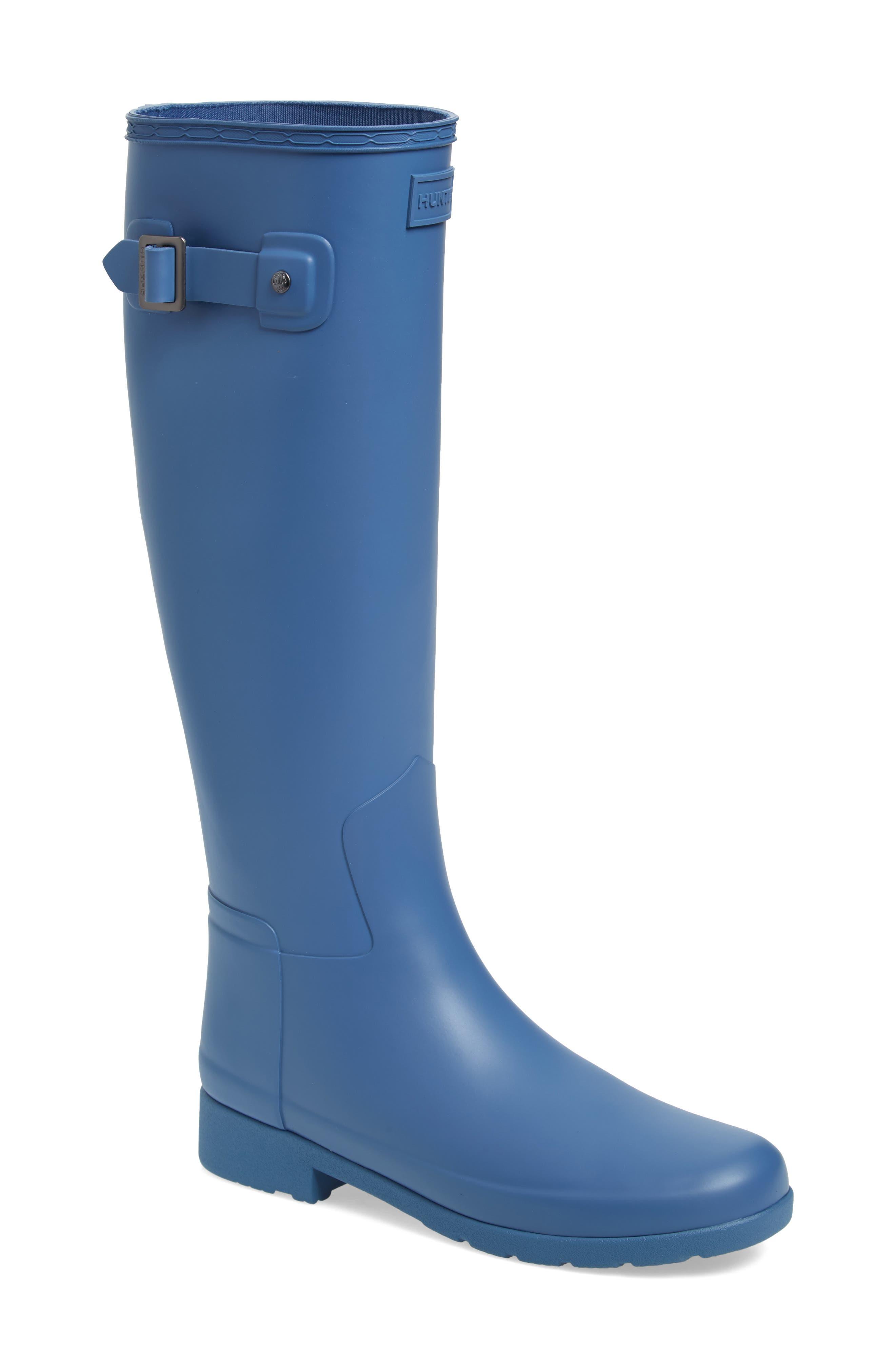 Hunter Original Refined Waterproof Rain Boot, Blue