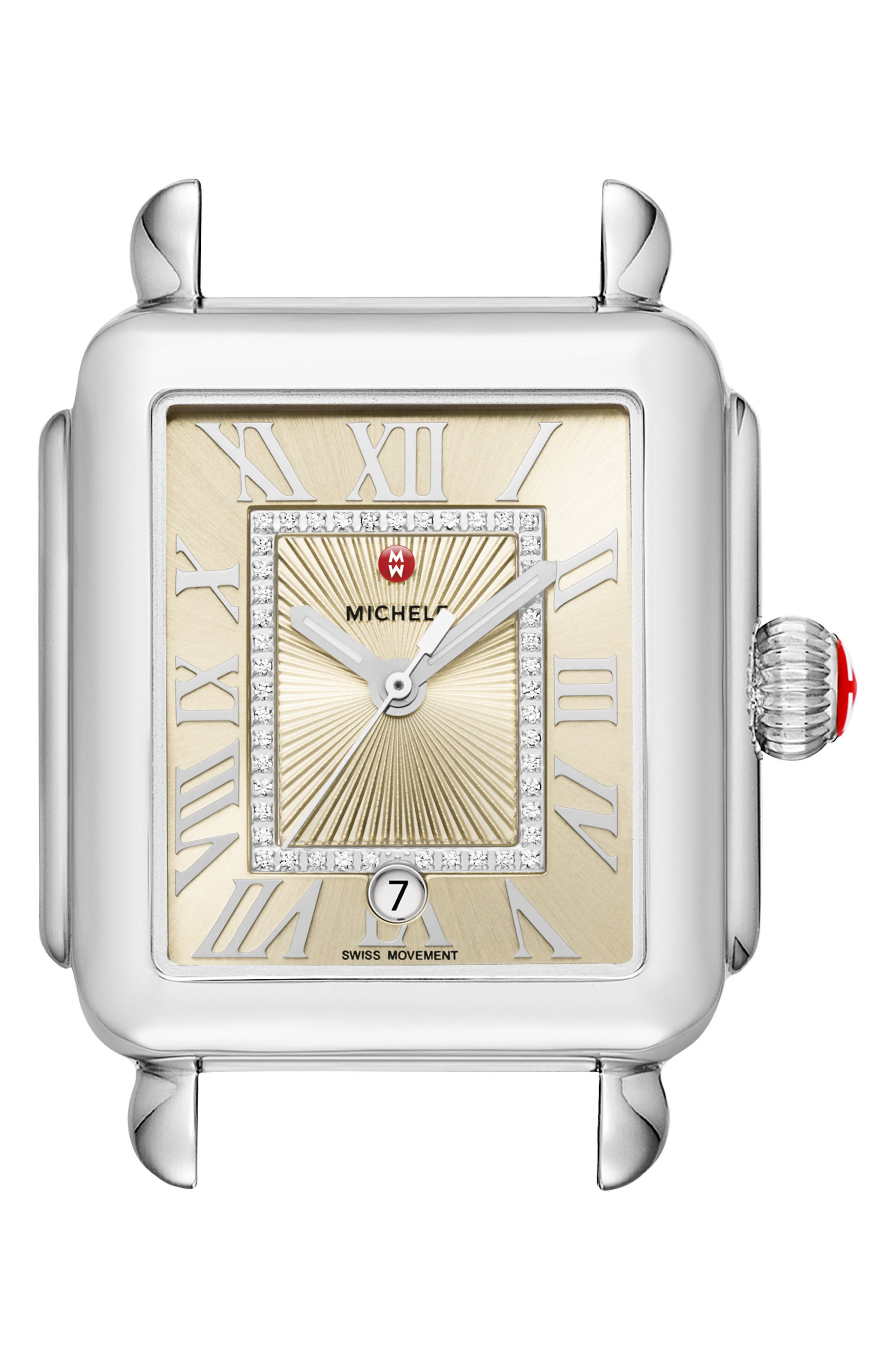 ,                             Deco Madison Champagne Diamond Dial Watch Head, 33mm x 35mm,                             Main thumbnail 1, color,                             SILVER/ CHAMPAGNE