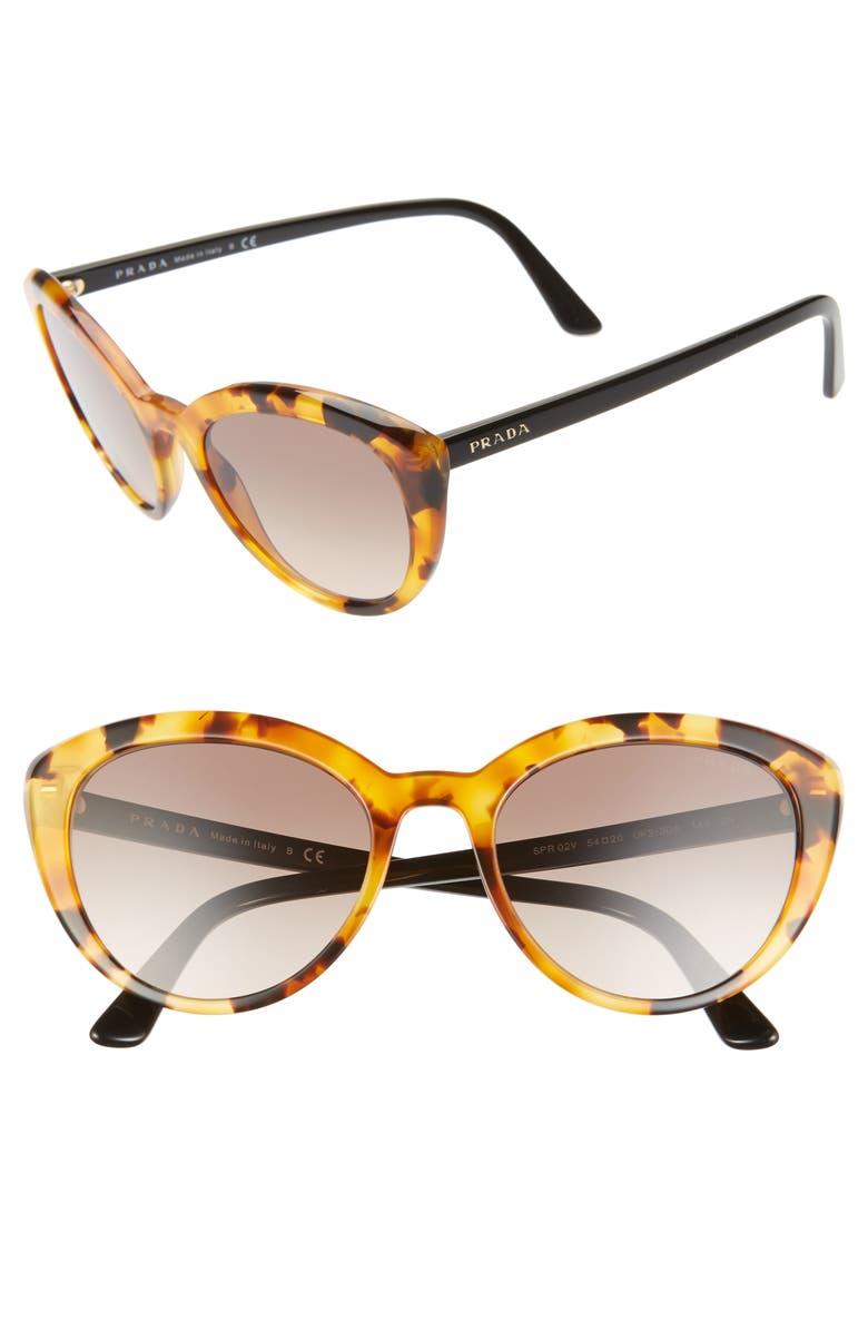 PRADA 54mm Cat Eye Sunglasses, Main, color, ORANGE HAVANA/ BROWN GRADIENT