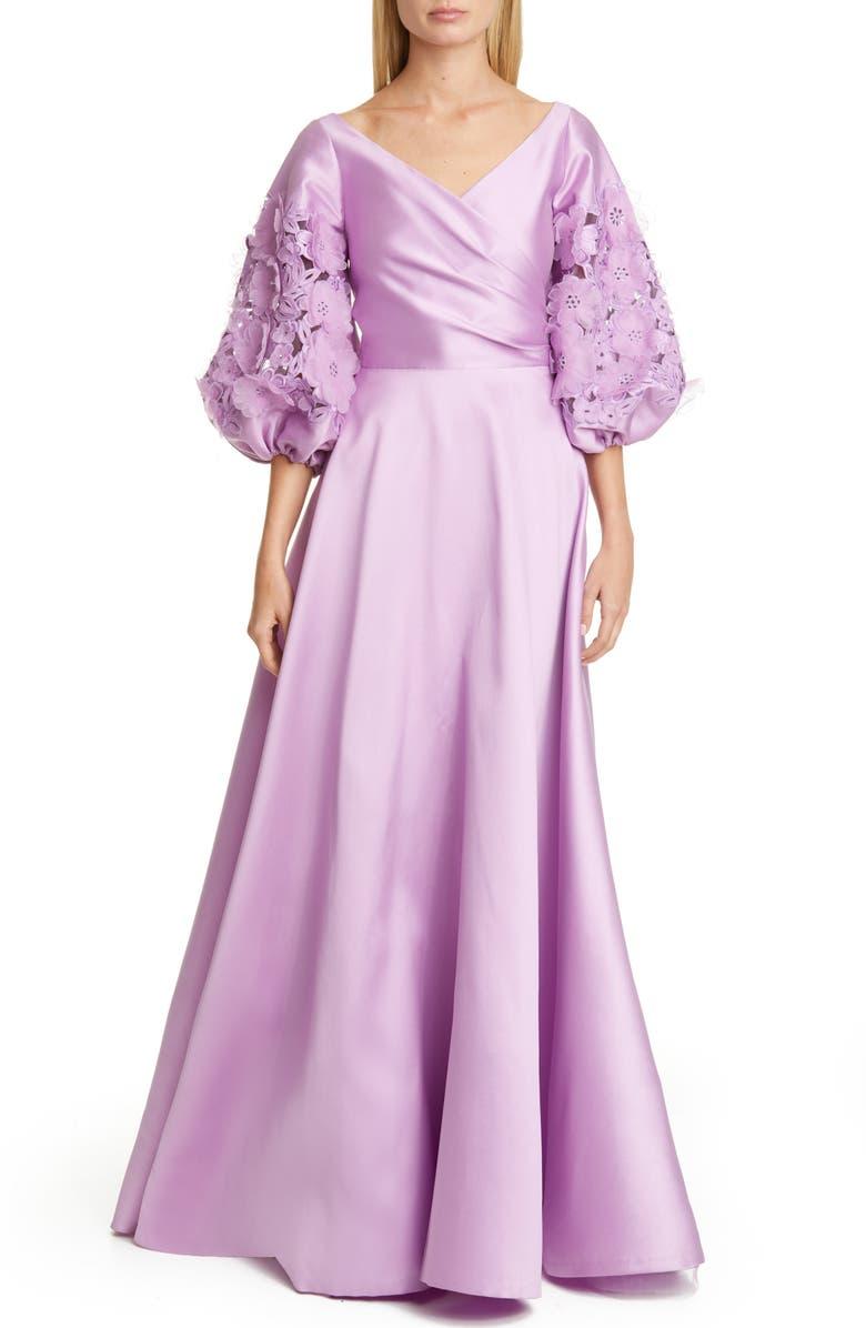 SACHIN & BABI Keagan Floral Lace Blouson Sleeve Ballgown, Main, color, 530