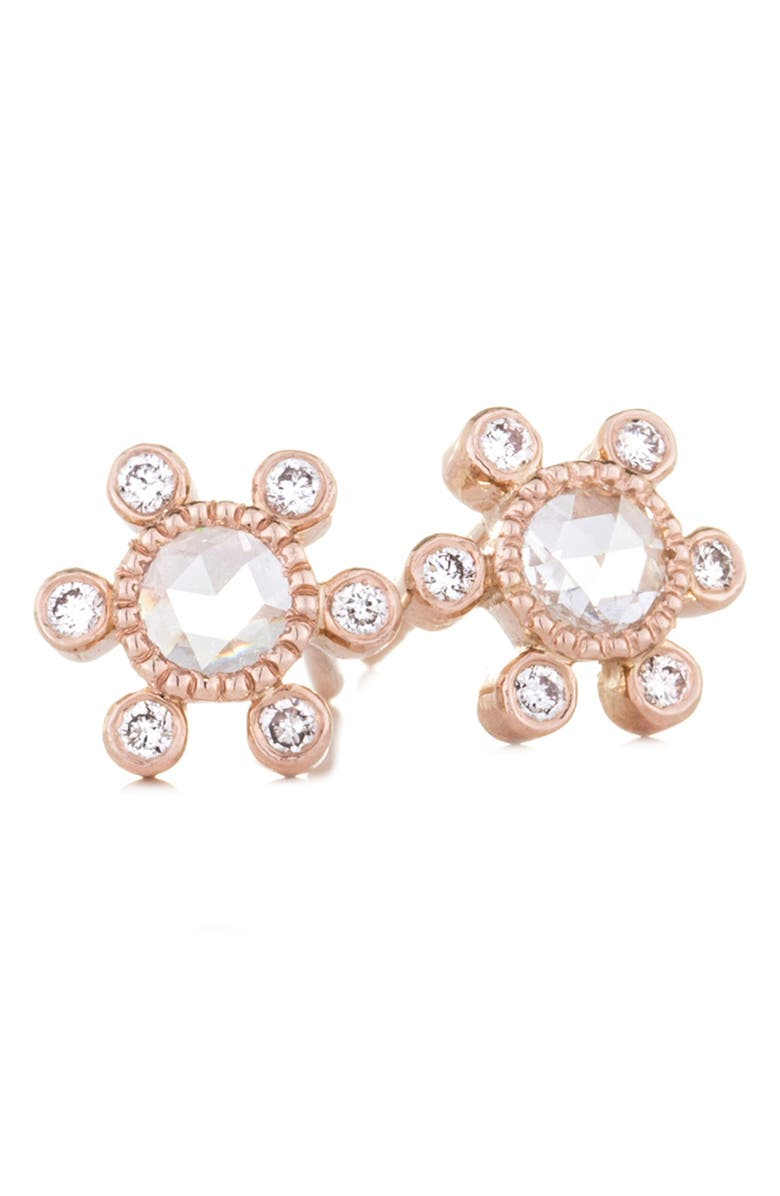 Sethi Couture Round Rose Cut Diamond Earrings
