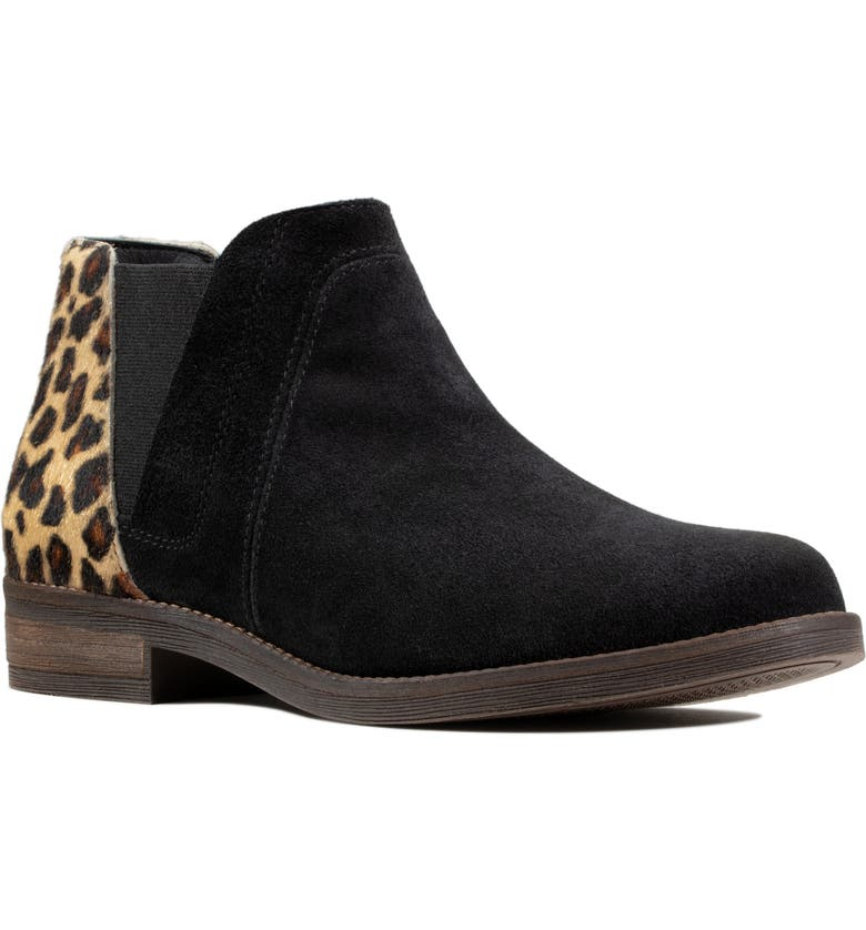CLARKS<SUP>®</SUP> Demi Beat Genuine Calf Hair & Suede Chelsea Boot, Main, color, BLACK LEATHER/ CALF HAIR