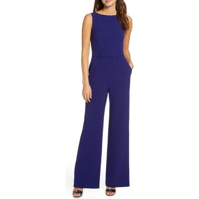Petite Vince Camuto Belted Sleeveless Stretch Crepe Jumpsuit, Blue