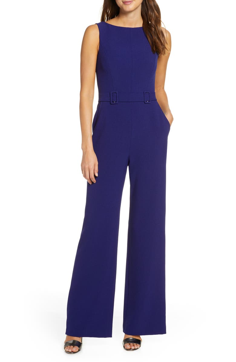 VINCE CAMUTO Belted Sleeveless Stretch Crepe Jumpsuit, Main, color, INDIGO