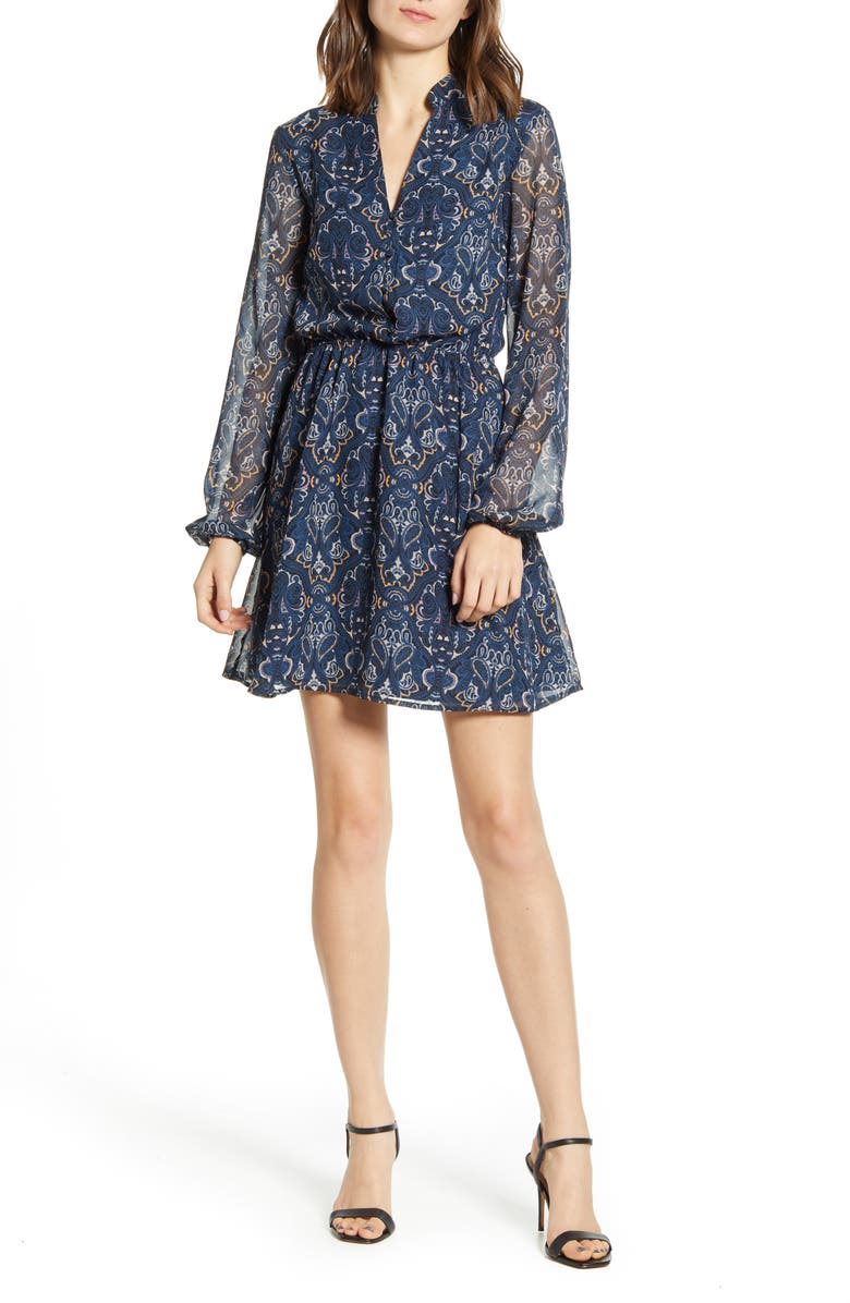 CUPCAKES AND CASHMERE The Rocky Paisley Chiffon Long Sleeve Minidress, Main, color, 401