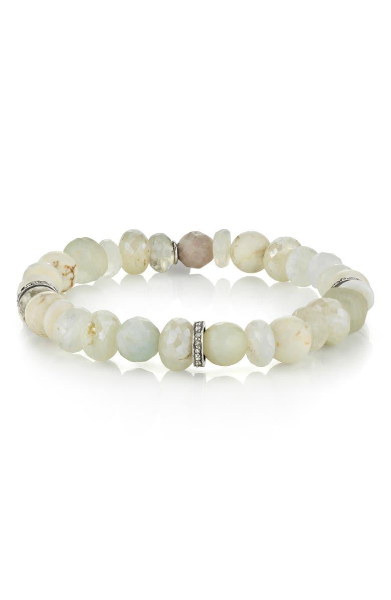 SHERYL LOWE Moonstone & Bone Rondelle Bracelet, Main, color, MOONSTONE