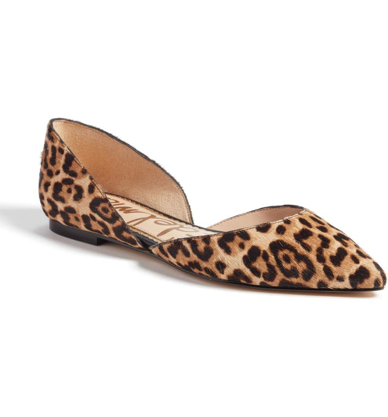 SAM EDELMAN Rodney Pointy Toe Genuine Calf Hair Flat, Main, color, SAND LEOPARD CALF HAIR