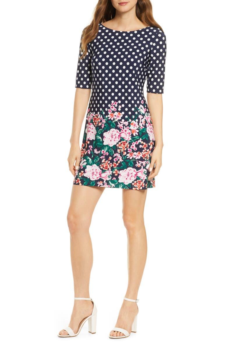 ELIZA J Polka Dot & Flower Print Minidress, Main, color, NAVY