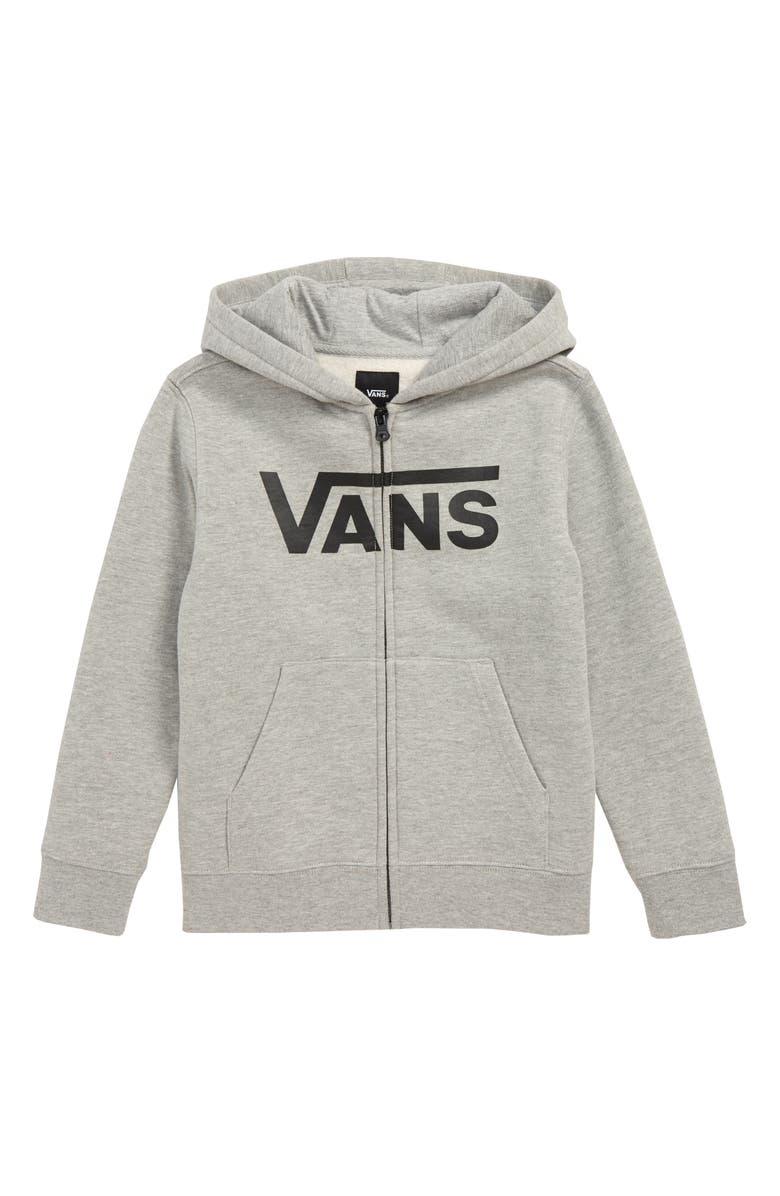 VANS Classic Zip Hoodie, Main, color, CEMENT HEATHER/ BLACK