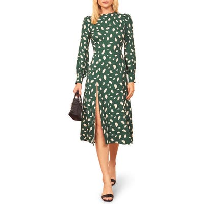 Reformation Creed Floral Print Dress, Green